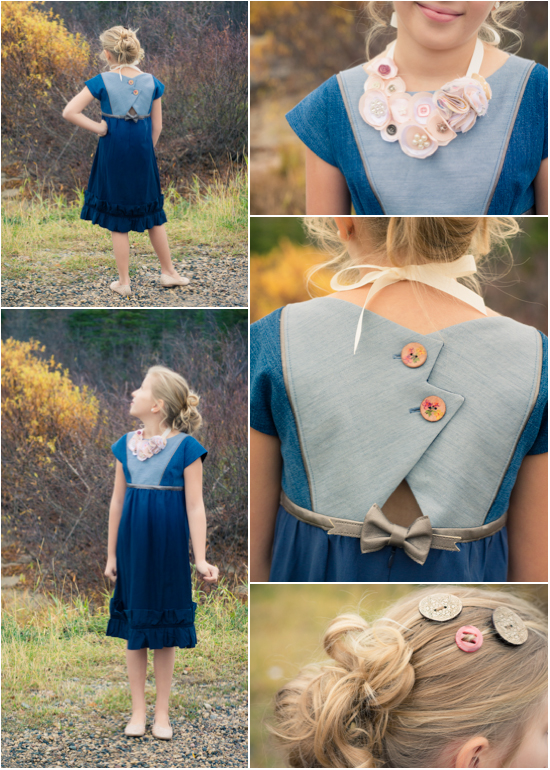 Button dress collage