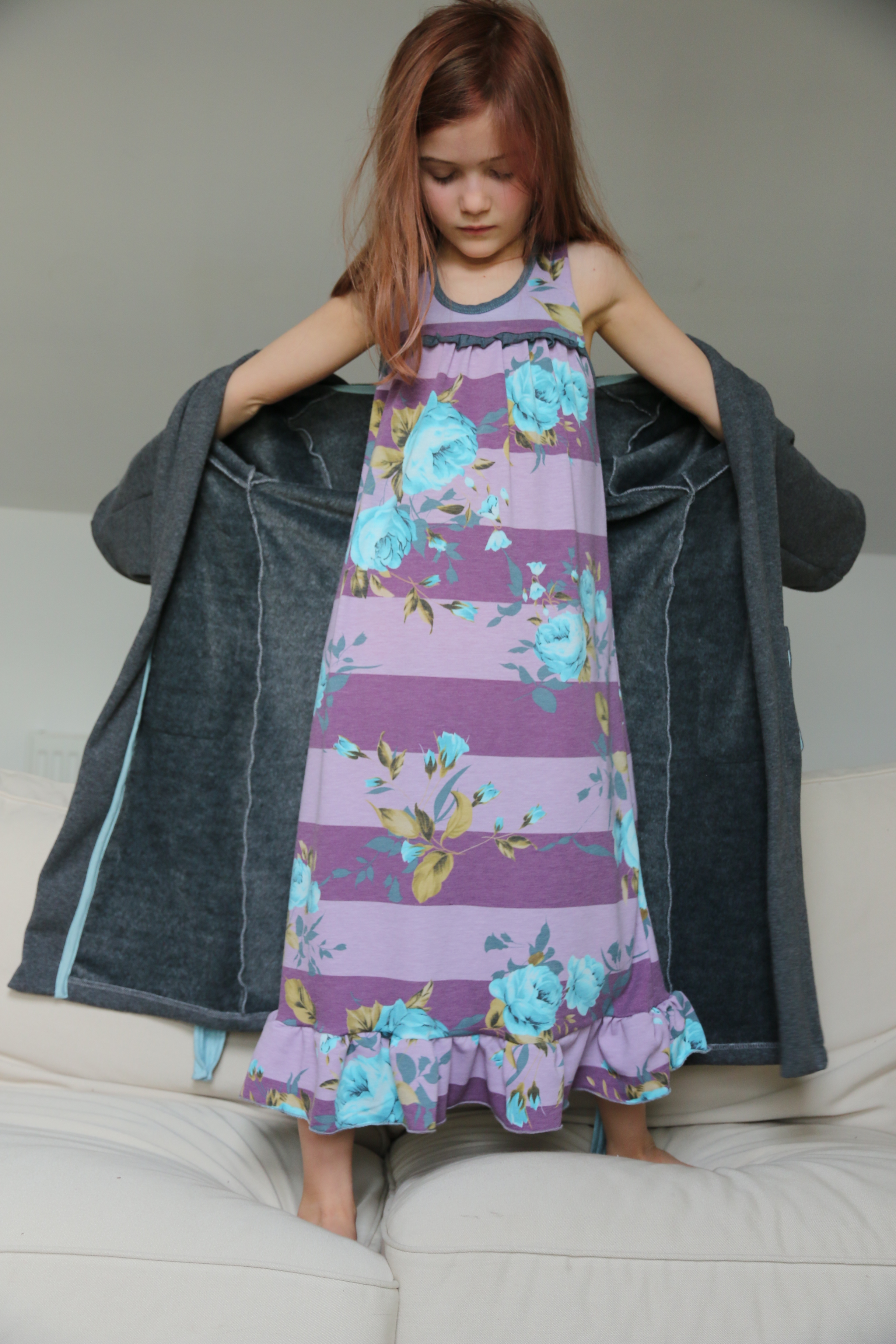 Starry Night PJs in gown option with ruffle detail across bodice and at hem. Shown with Arctic Fox housecoat.