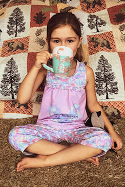 Starry Night PJs in top and capri length pant option with ruffle detail across bodice.