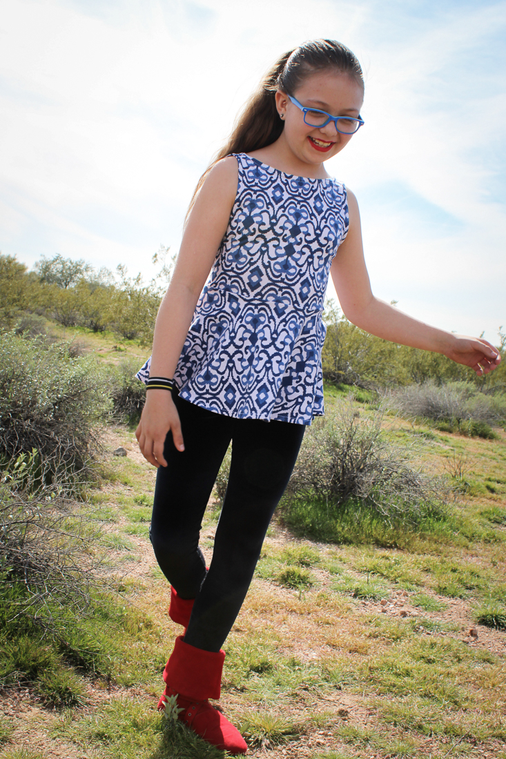 Dandelion tank peplum for teens. Longer peplum length pairs nicely with tights.