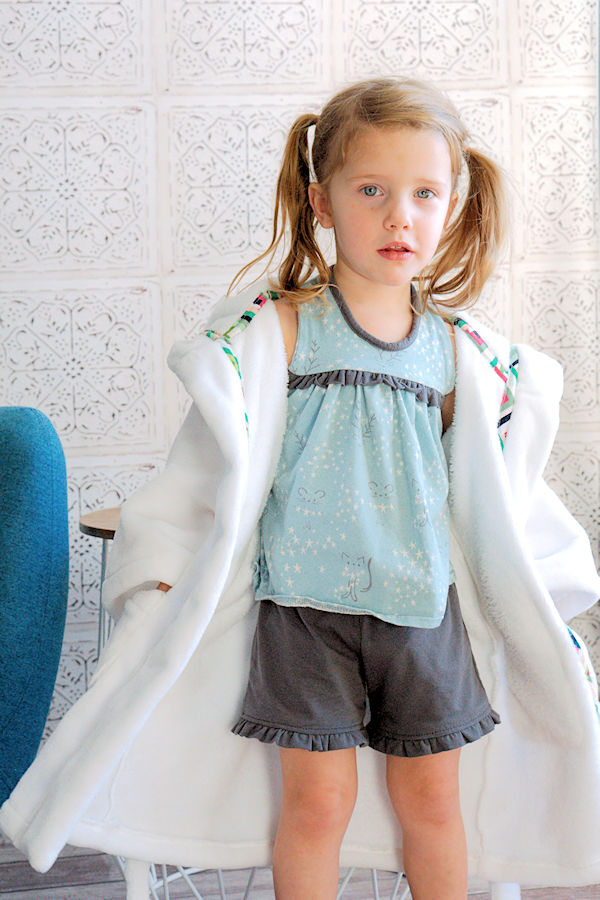 Starry Night PJs in top and short length pant option with ruffle detail across bodice and along shorts hem.