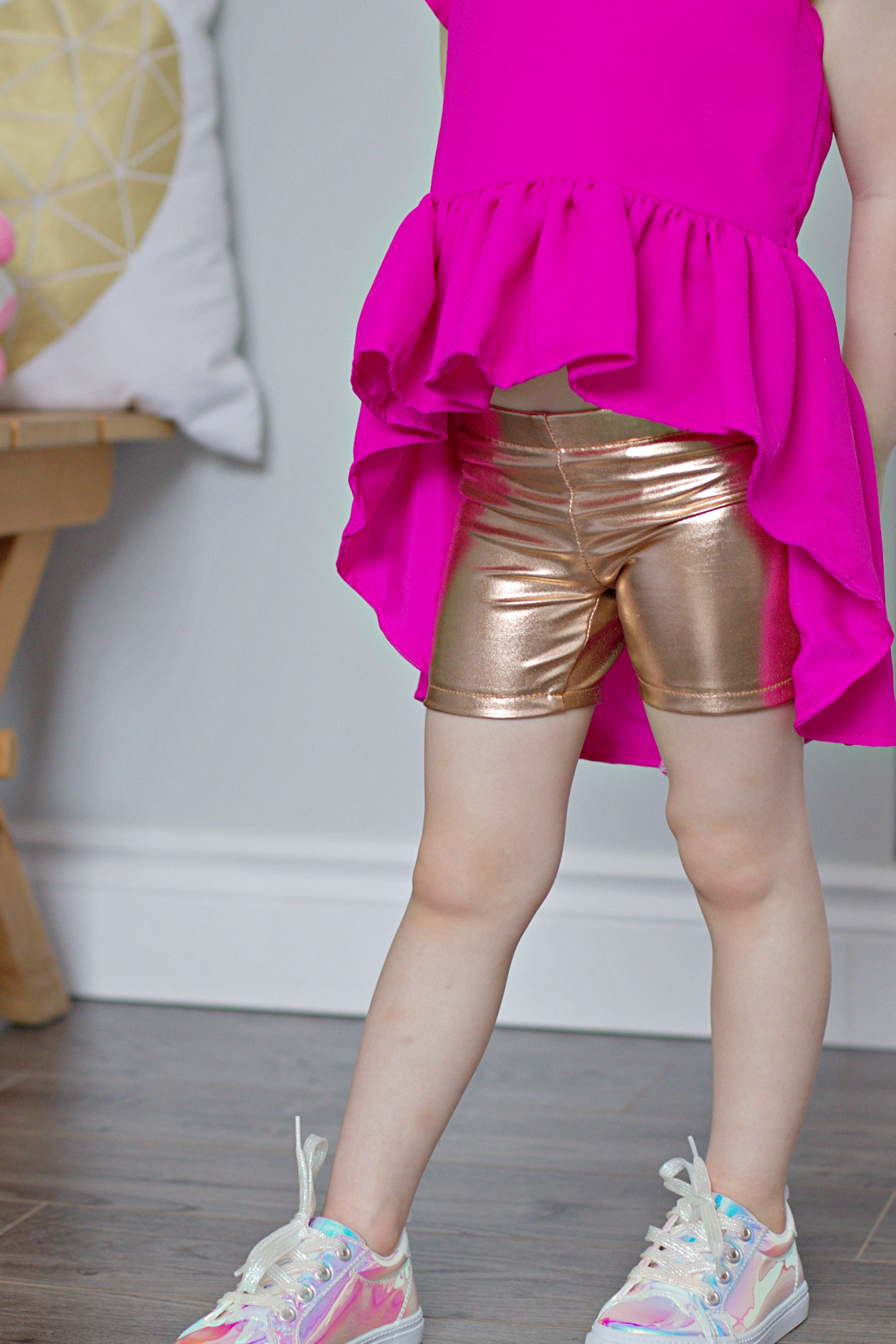 Rocky Shore tights for gymnastics or play. Shorts version with elastic waist for wearing under skirts.