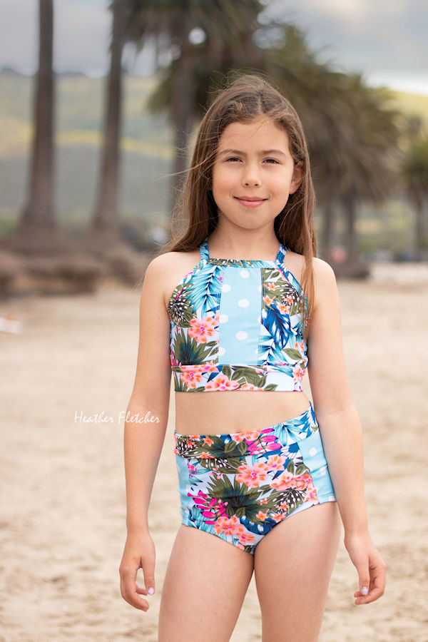 Narwhal 2-piece swimsuit. Pieced top and bottoms for colour blocking fun.