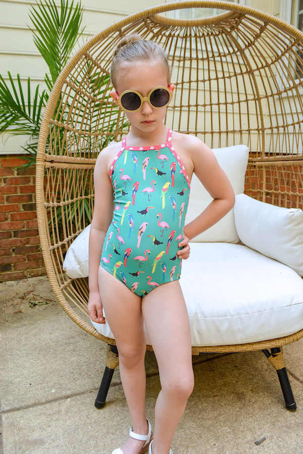 One piece Narwhal swimsuit for a simple, clean look.