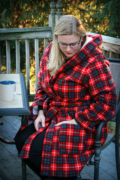 Miss Arctic Fox Robe. Fleece, cozy  housecoat, robe. Hooded with pockets and 2 lengths.