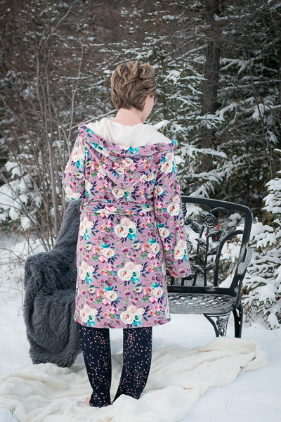 Miss Arctic Fox Robe. Fleece, cozy  housecoat, robe. Hooded with pockets and 2 lengths. Lined hood.
