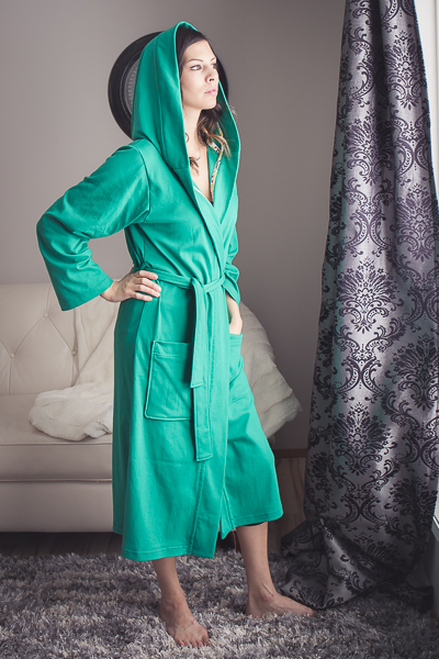 Miss Arctic Fox Robe. Cotton lycra, knit, lightweight  housecoat, robe. Hooded with pockets and 2 lengths.