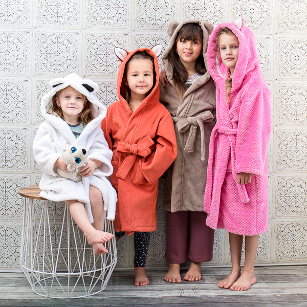 Arctic Fox Housecoat with rabbit, bear and fox ears for girls and boys. Fleece and minky fabrics.