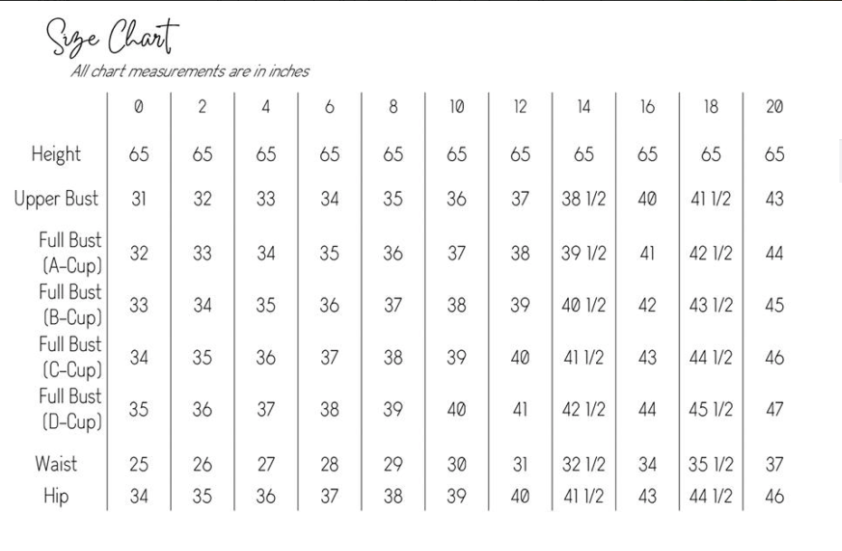Sofiona Designs misses size chart for sizes 0-20.