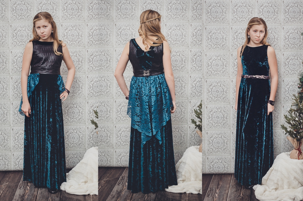 Tween/teen friendly special occasion dress in stretch velvet, lace and faux leather.  Sofiona Designs Dandelion and Juniper patterns hacked into one outfit.