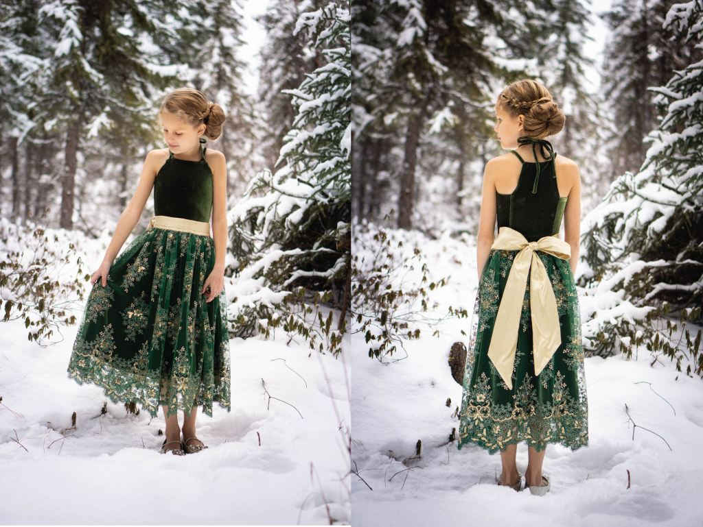 Tide Dress in knit fabric. Girls PDF Sewing pattern.  Size 2-16 Sofiona Designs.  Elegant special occasion velvet and lace dress.