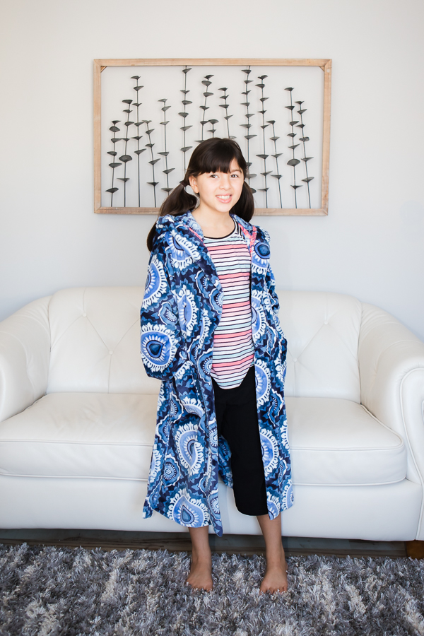 Girls PJ set using Sofiona Designs patterns: Arctic Fox Housecoat, Aurora Raglan and Starry Night PJ capris.