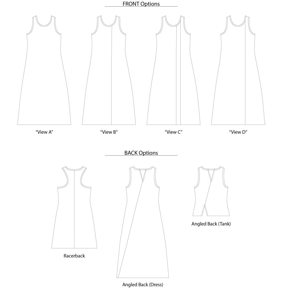 Line Drawings for The Cattail Tank/Dress girls PDF sewing pattern from Sofiona Designs.