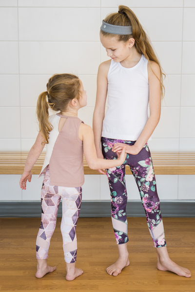 The Tamarack activewear tights and Cattail Tank top PDF patterns by Sofiona Designs for girls size 2-16.