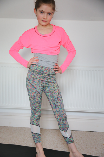 The Tamarack activewear tights in long crop length with ankle piecing. PDF pattern by Sofiona Designs for girls size 2-16.