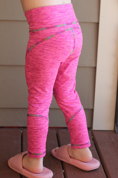 The Tamarack activewear tights in long crop length with full ankle piece. PDF pattern by Sofiona Designs for girls size 2-16.
