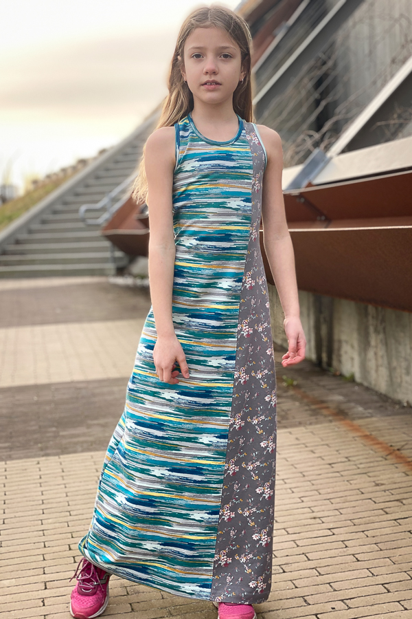 Knit maxi dress with colour blocking options from Sofiona Designs.  Cattail Tank/Dress girls PDF sewing pattern.