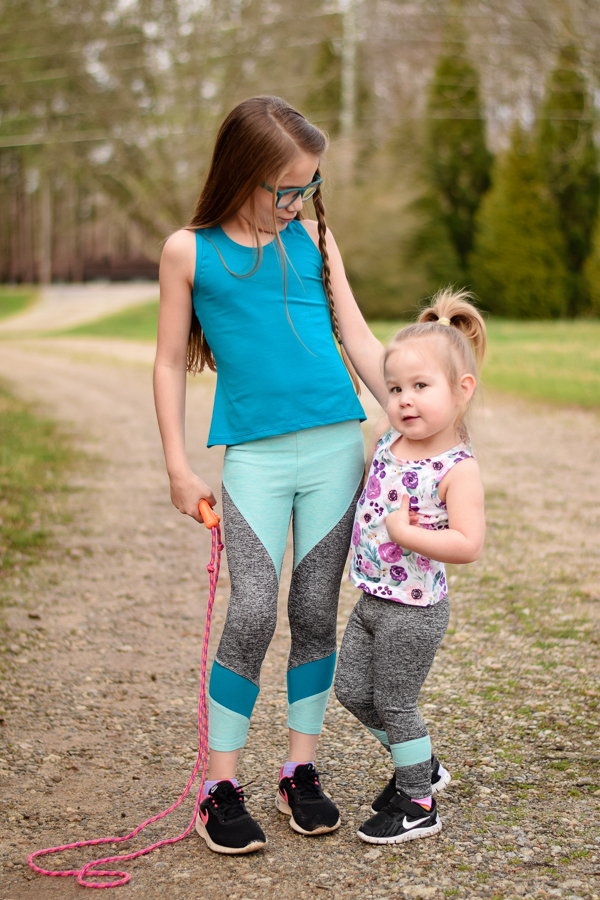 Tank top and athletic tights girls PDF sewing patterns from Sofiona Designs.