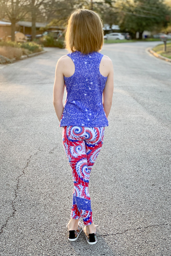 Racerback tank girls PDF sewing pattern from Sofiona Designs.