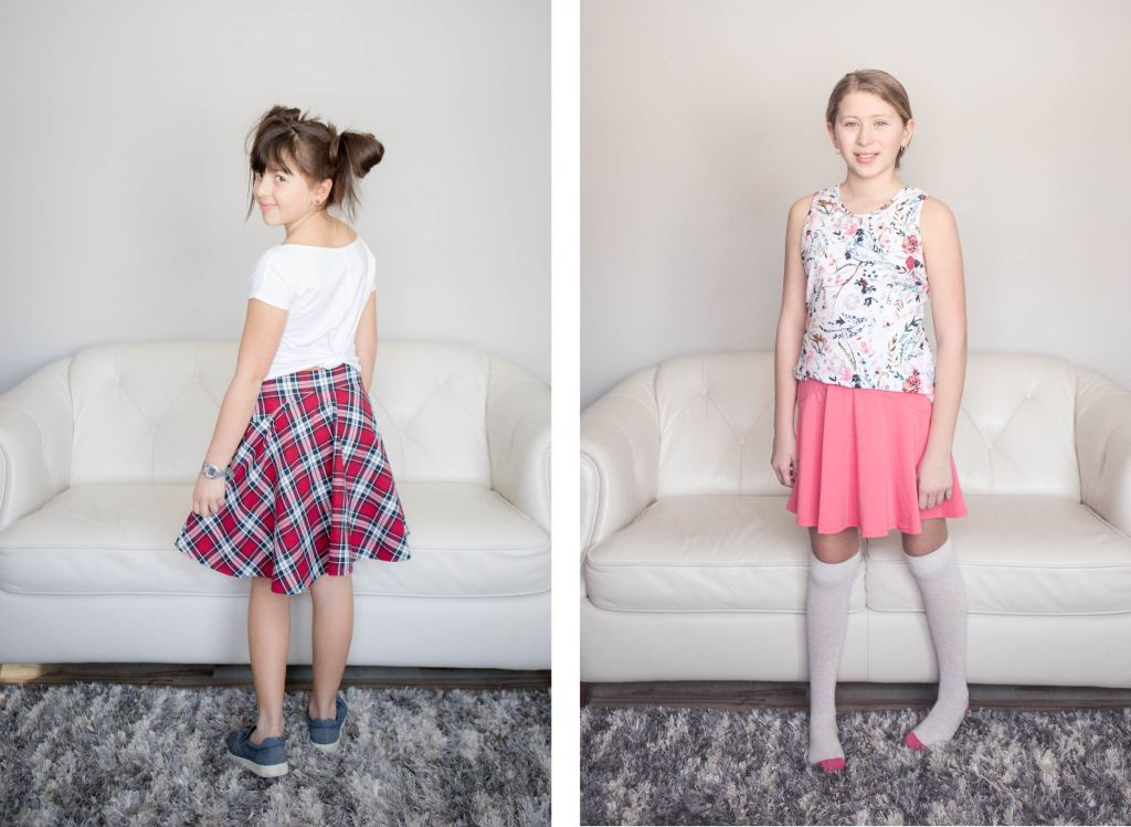 Girls size 2-16 PDF sewing pattern from Sofiona Designs.  Trendy woven skirt with side zip and knit skirt/skort in 2 lengths.
