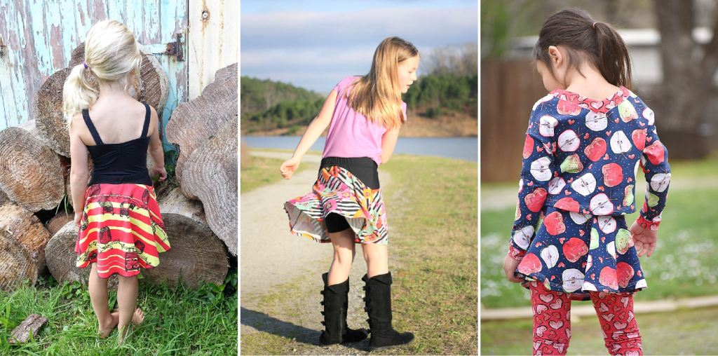 Girls size 2-16 PDF sewing pattern from Sofiona Designs.  Trendy knit skirt/skort in 2 lengths, with option for woven skirt.