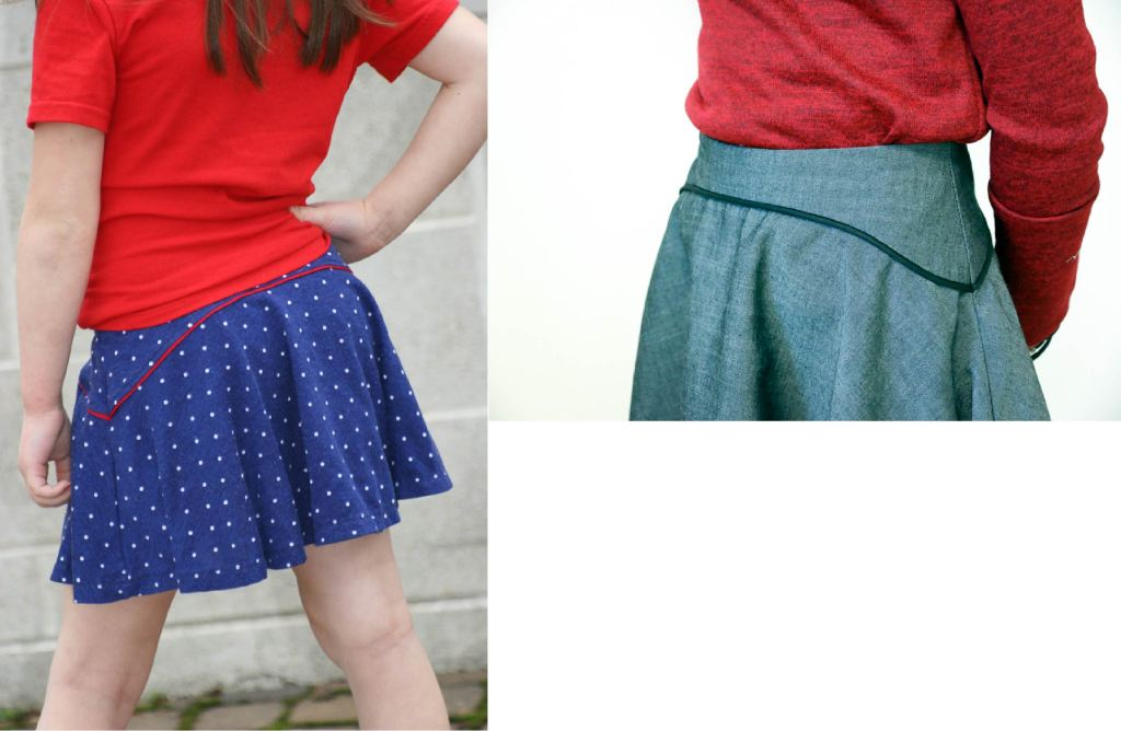 Girls size 2-16 PDF sewing pattern from Sofiona Designs.  Trendy woven skirt or knit skirt/skort with optional piping detail.