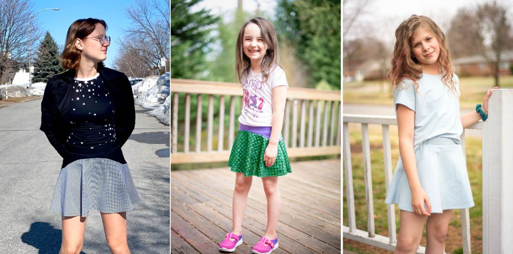 Girls size 2-16 PDF sewing pattern from Sofiona Designs.  Knit skirt/skort in 2 lengths, with option for woven skirt.