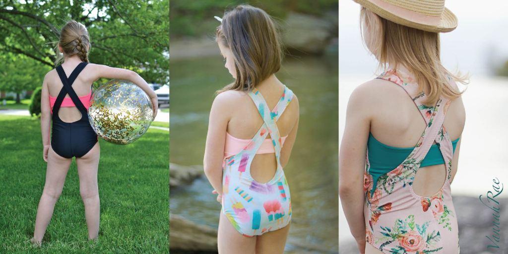 Trendy one piece girls size 2-16 PDF swim pattern with fun back detail by  Sofiona Designs.
