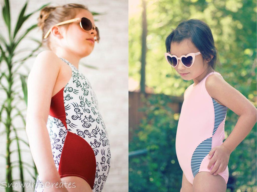 Trendy one piece girls size 2-16 PDF swim pattern with blocking options by  Sofiona Designs.