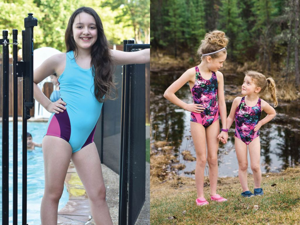 Trendy one piece girls size 2-16 PDF swim pattern with colour block options.  Sofiona Designs.