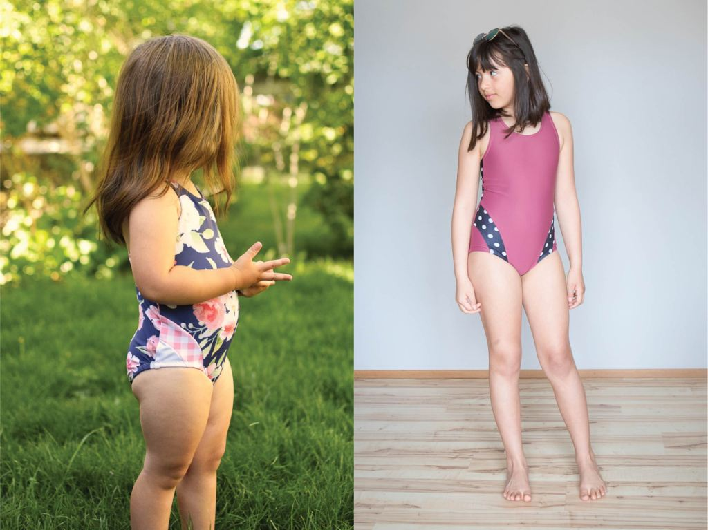 One piece girls size 2-16 PDF swim pattern with colour block options.  Sofiona Designs.