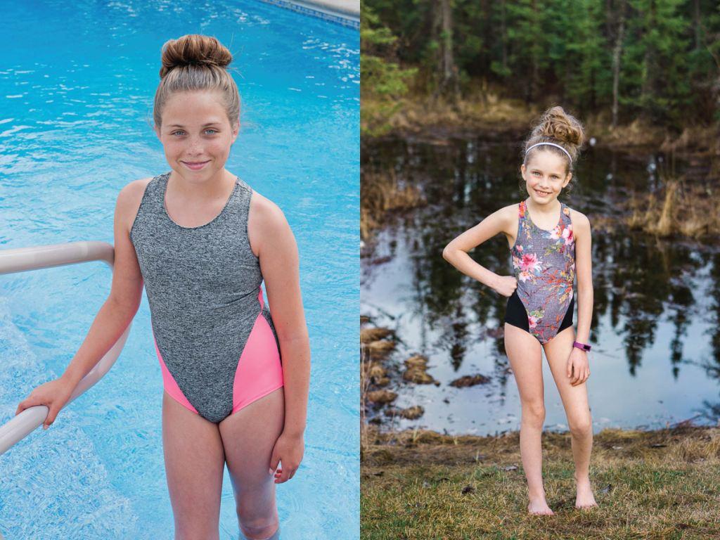 On trend one piece girls size 2-16 PDF swim pattern.  Sofiona Designs.