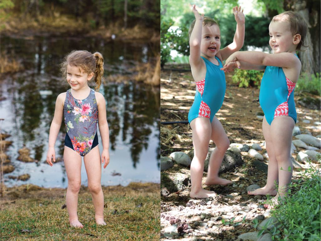 On trend one piece girls size 2-16 PDF swim pattern with colour block options.  Sofiona Designs.