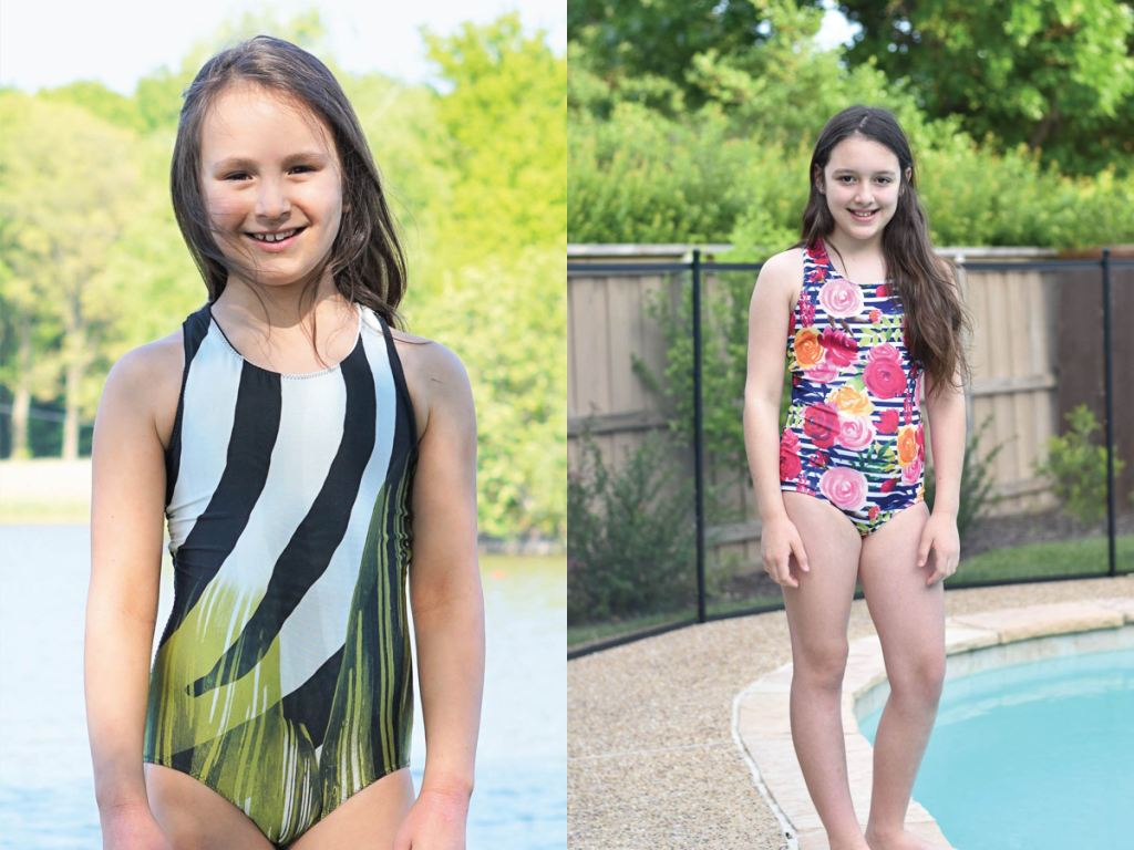 Solid front one piece girls size 2-16 PDF swim pattern.  Sofiona Designs.