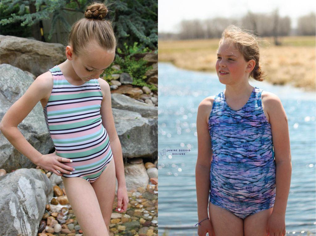 Modest one piece girls size 2-16 PDF swim pattern.  Sofiona Designs.
