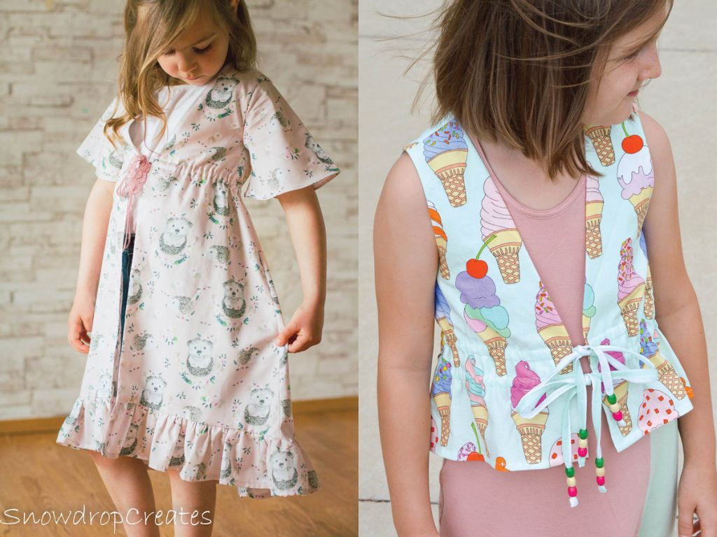 Raspberry cover up PDF sewing pattern in girls size 2-16.  Sofiona Designs