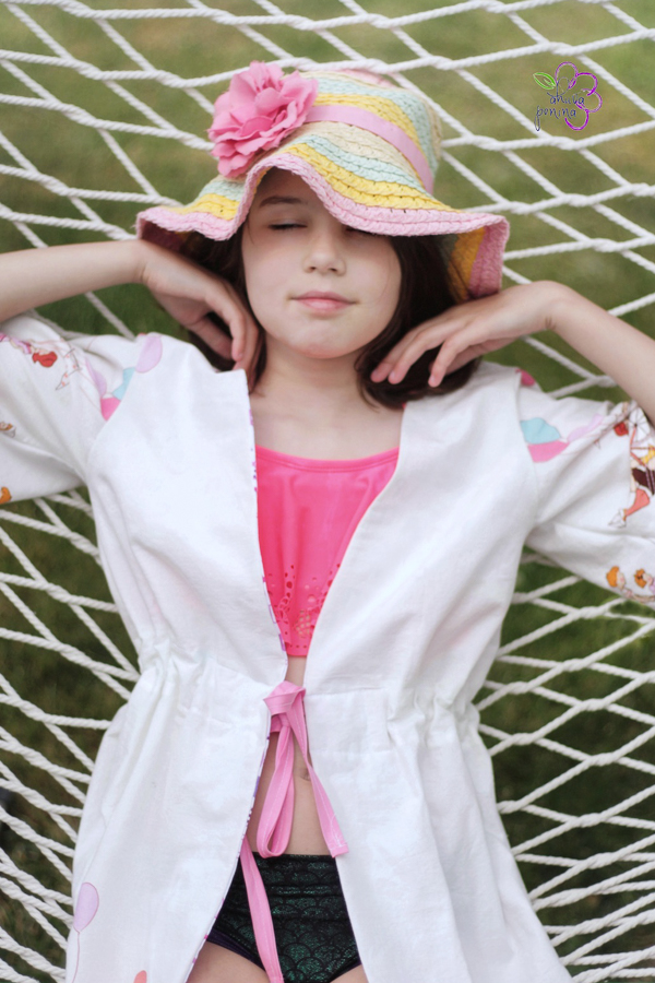 Girls swim cover up for sizes 2-16.  PDF sewing pattern from Sofiona Designs.