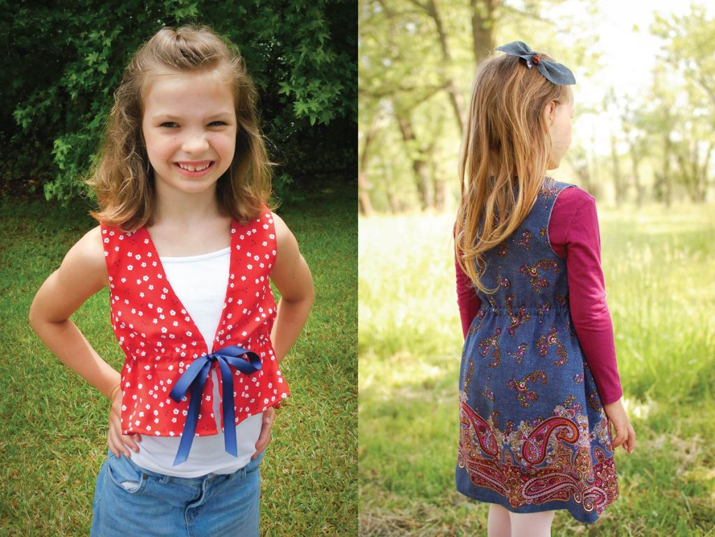 Sleeveless Raspberry Cover-Up or vest.  Girls PDF sewing pattern size 2-16.  Sofiona Designs