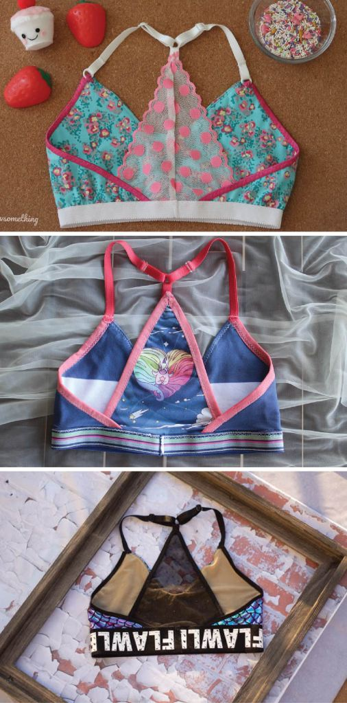 Back options for the Wild Strawberry bralette PDF sewing pattern from Sofiona Designs.