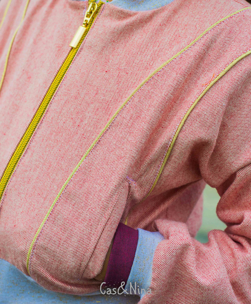 Gorgeous gold piping in the Rose Hip jacket with welt pockets and double cuffs.