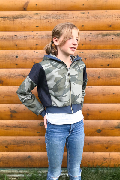 The Rose Hip jacket in View B. Shown in camo fabric as a tween friendly fall jacket.