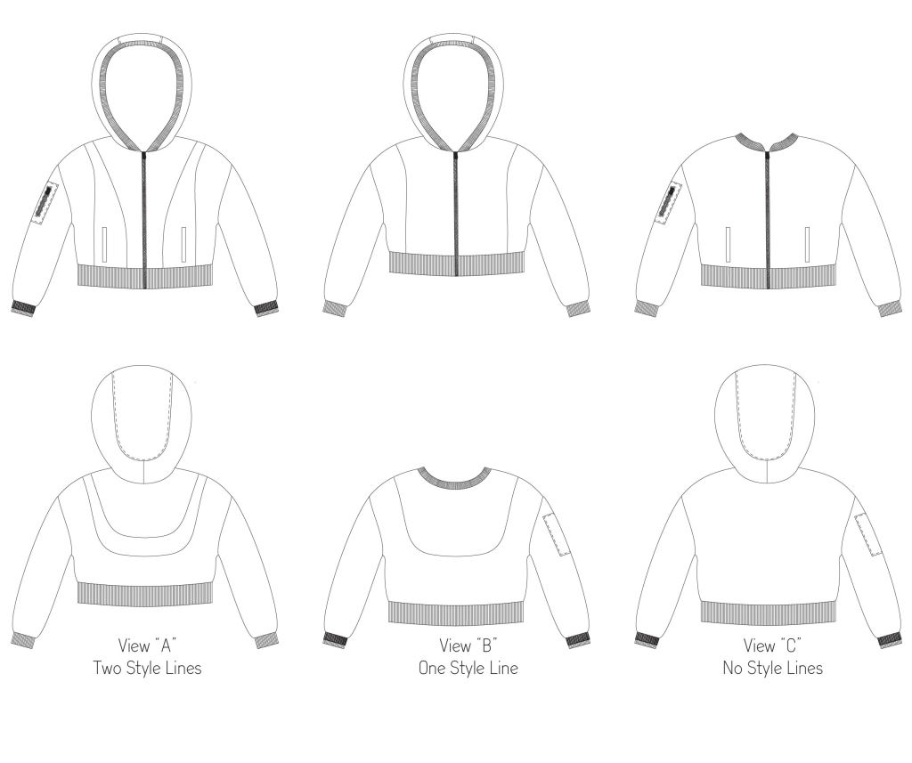 Line drawings for the Rose Hip Jacket by Sofiona Designs.