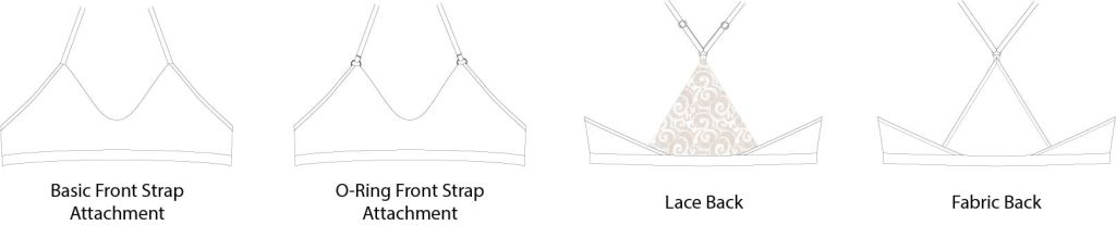 Line drawings of the Wild Strawberry bralette PDF sewing pattern from Sofiona Designs.