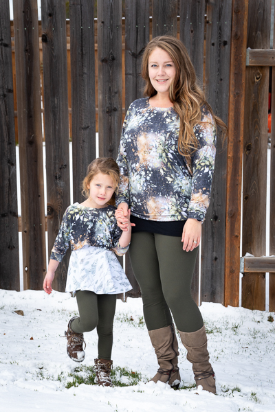 The Miss Tundra top in waist length and long sleeves with the girls Tundra in crop length and 3/4 length sleeve.