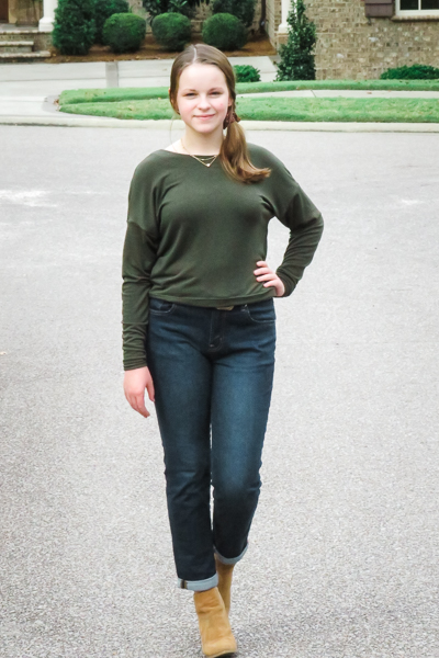 The Miss Tundra top in waist length and long sleeves.