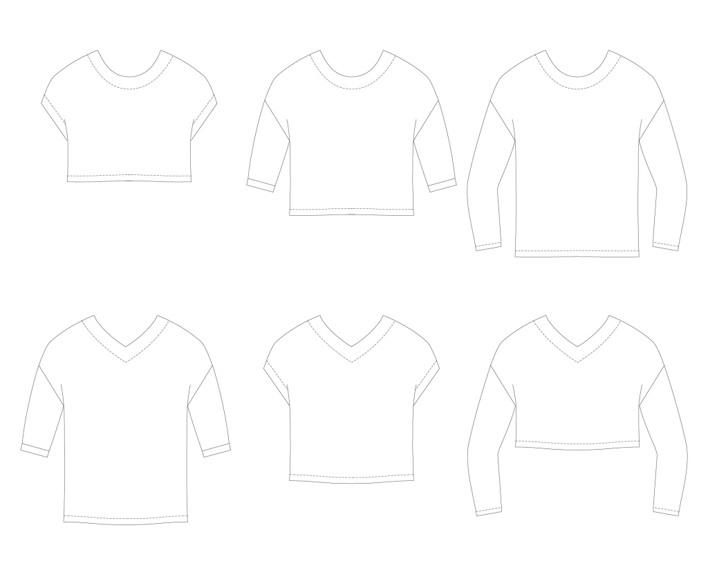Line drawings of the Miss Tundra top by Sofiona Designs.