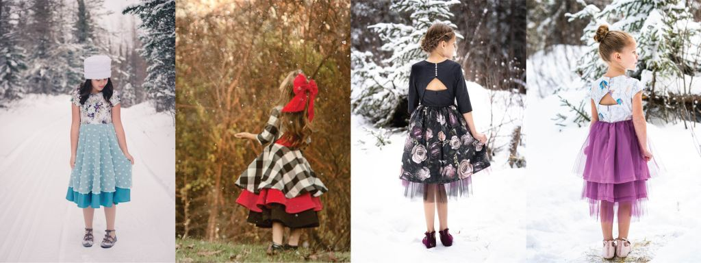 Holiday sewing inspiration with the Cranberry Dress PDF sewing pattern.
