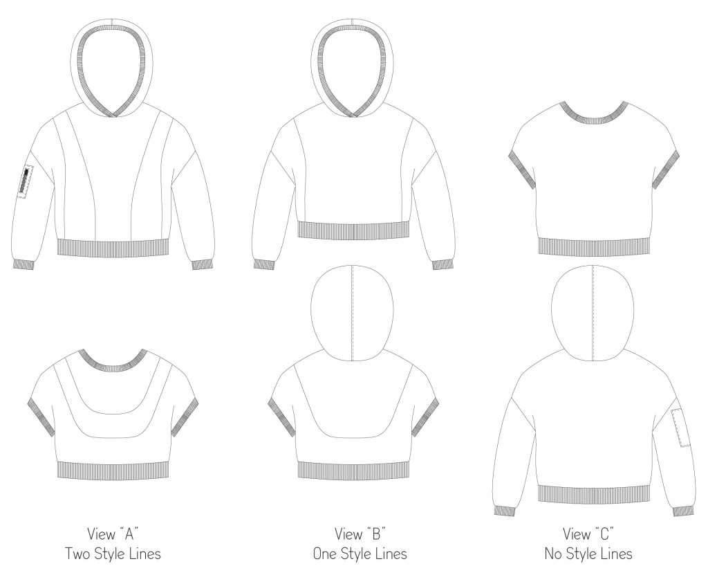 Line drawings for the Miss Clover hoodie in junior miss sizes 0-20 from Sofiona Designs.
