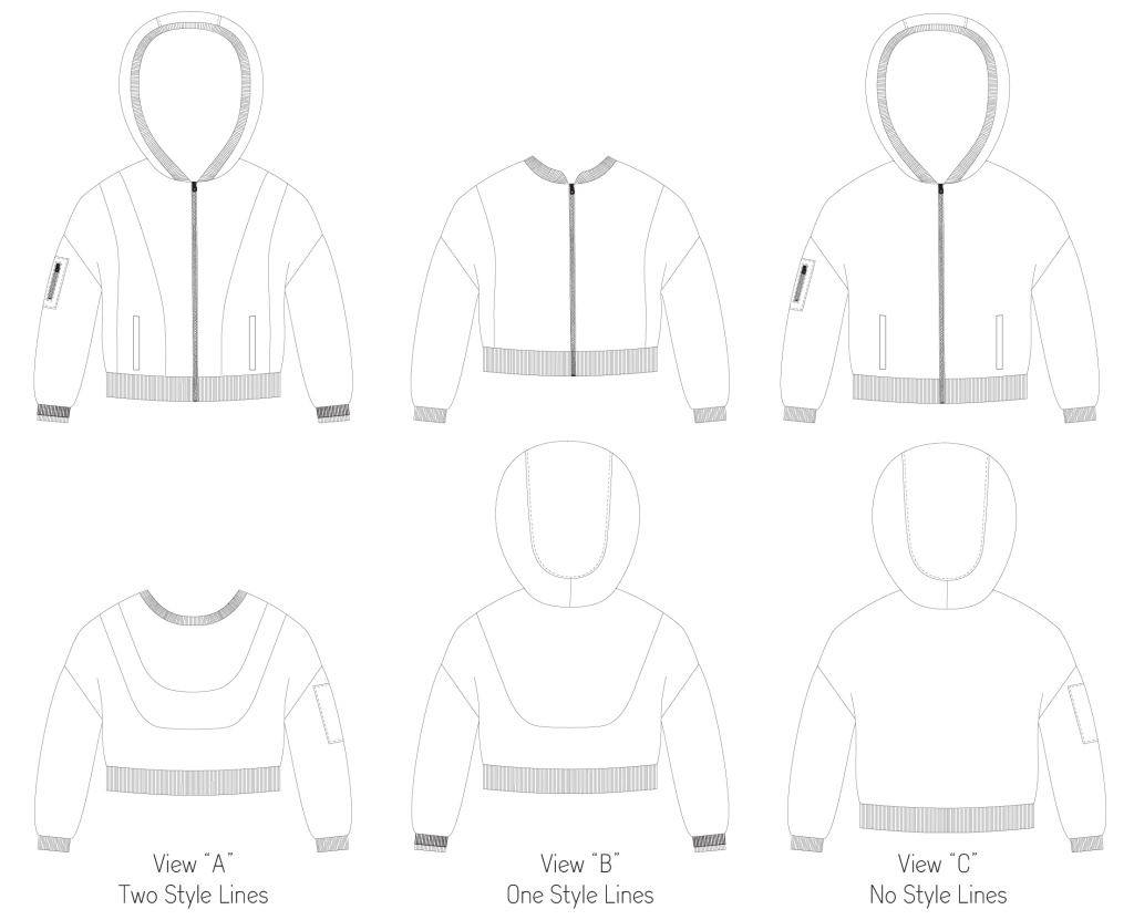 Line drawings for the Miss Rose Hip jacket in junior miss sizes 0-20 from Sofiona Designs.
