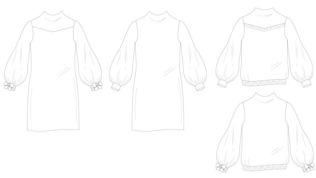 Line drawings for Caribou/Miss Caribou shirt and dress.